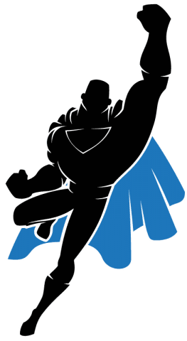 Unlimited WordPress Support Super Hero Jumping into action